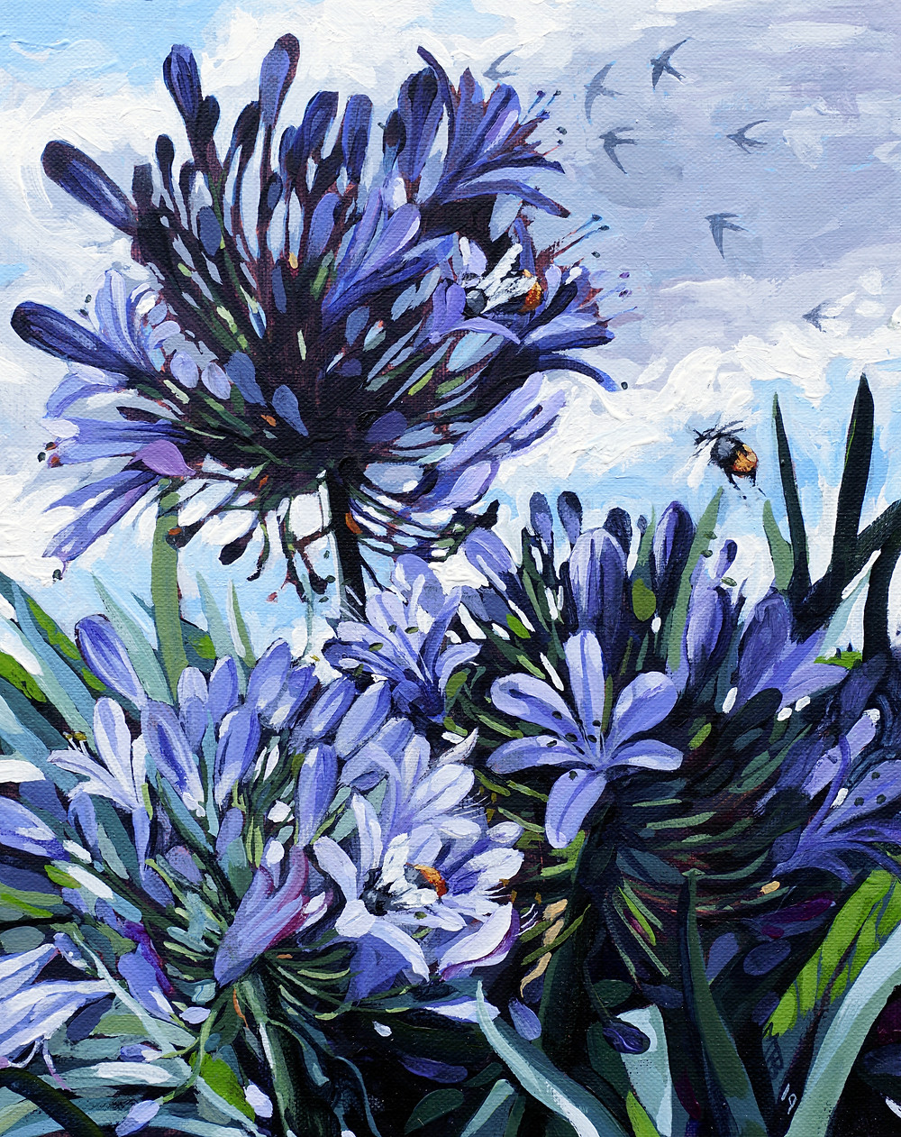 Summer Agapanthus, acrylic on linen