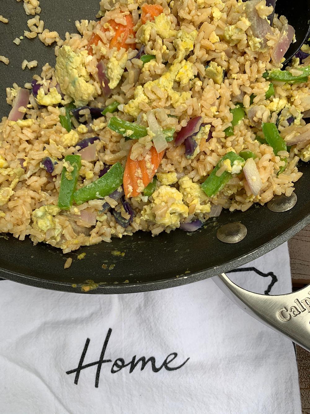 Egg stir fry dinner for runners and athletes.