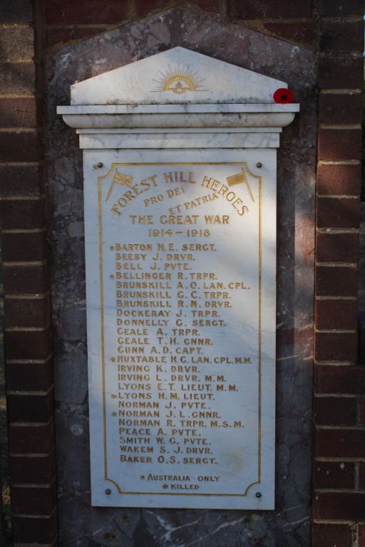 Forest Hill Memorial, The Great War