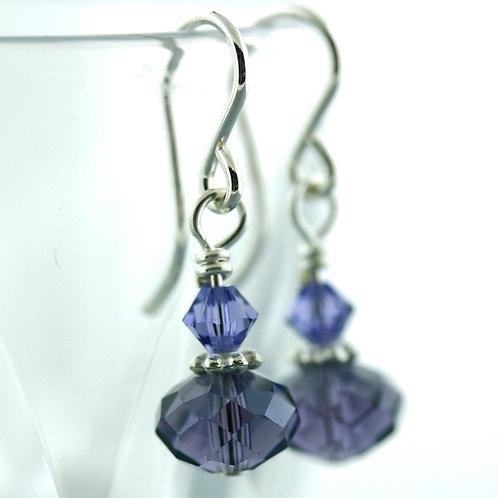 Earrings - Purple - Short - Crystal 1571