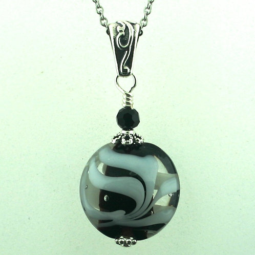 Pendant - Black, Clear, and White  (1456)