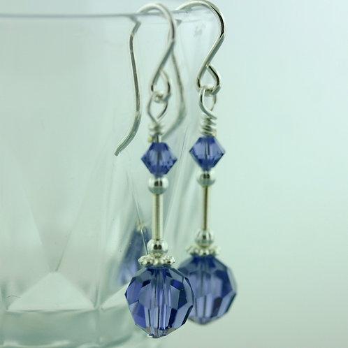 Earrings - Purple - Long - Swarovski Crystal 1570