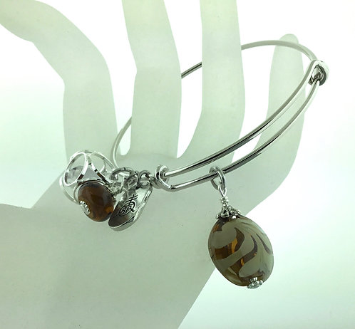 Expandable Bangle Earth Tones with Silver 15107