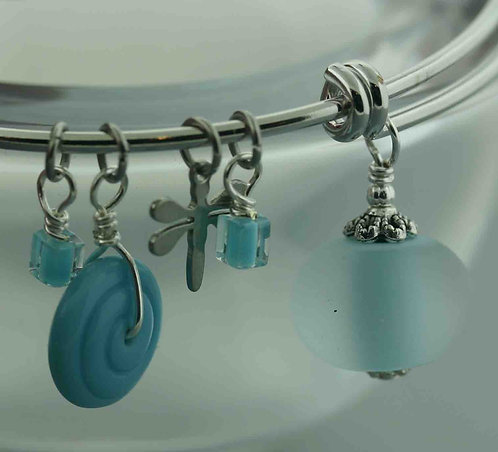Expandable Bangle Frosted Sky Blue 15104