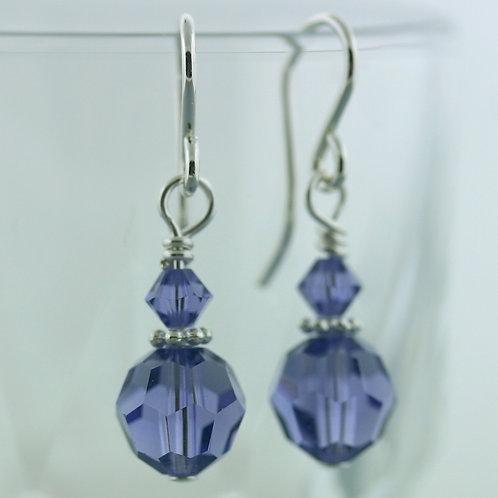 Earrings - Purple - Short - Swarovski Crystal 1569