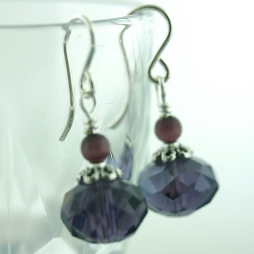 Earrings - Purple - Short - Crystal 1572