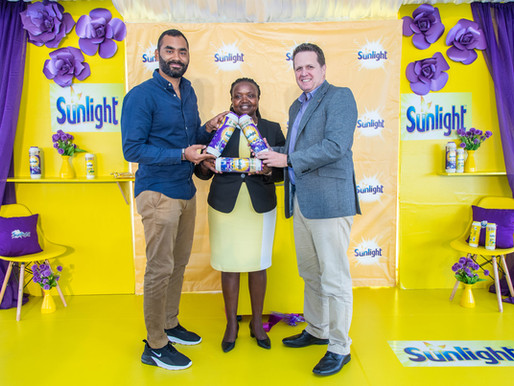 Launch of first fully recycled plastic packaging for Sunlight scouring powder in Kenya.
