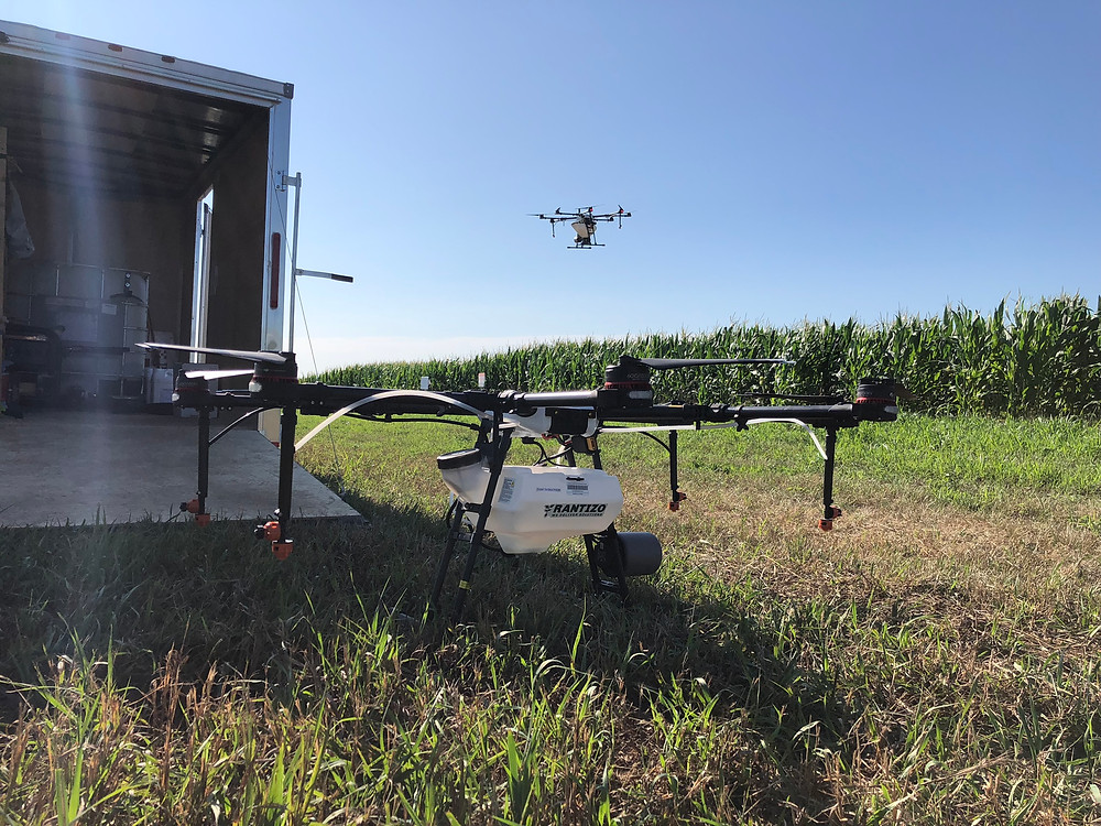 The Rantizo drone at the planting day in early July 2019.