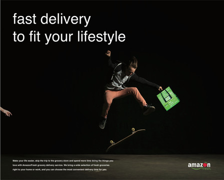 AmazonFresh subway ad  AmazonFresh is a grocery delivery service that brings your fresh ingredients at any time and place that works best for you.