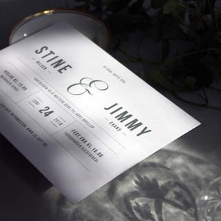 Enkelt og rent formspråk til et designbevisst brudepar.