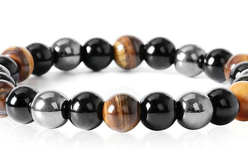 Tiger's Eye, Black obsidian and hematite bracelet