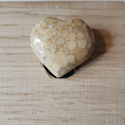 Spotted Agate puff heart