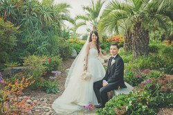 Gorgeous Picture of the bride and groom at the Parterre Gardens Torrey Pines