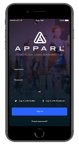 Apparl Login Screen
