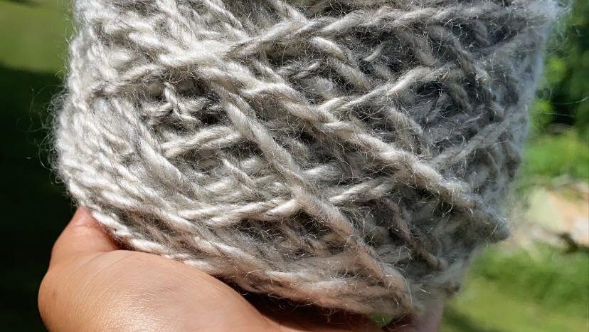 MOHAIR,GRAY AND WHITE.82 yards