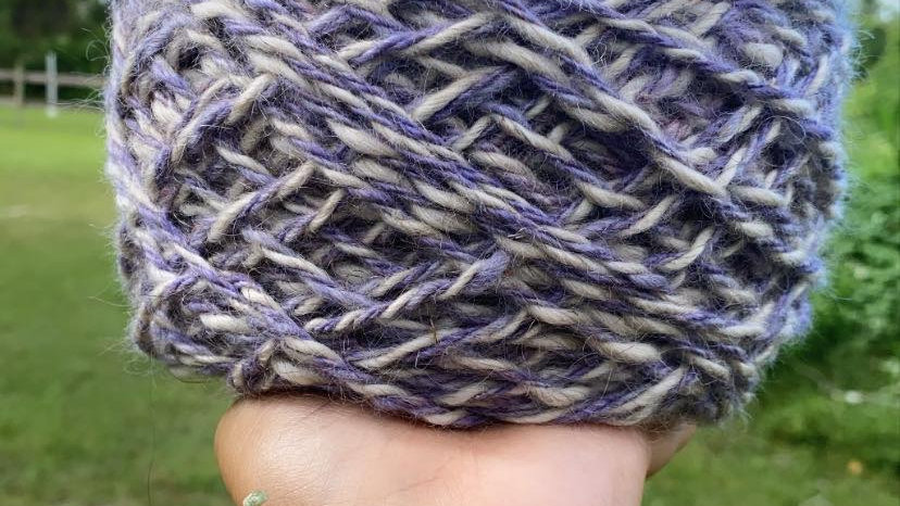 Mohair purple and white 400 Yards