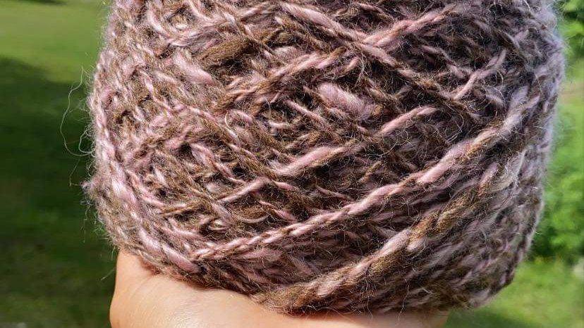 Mohair  Pink and Brown 104 Yards