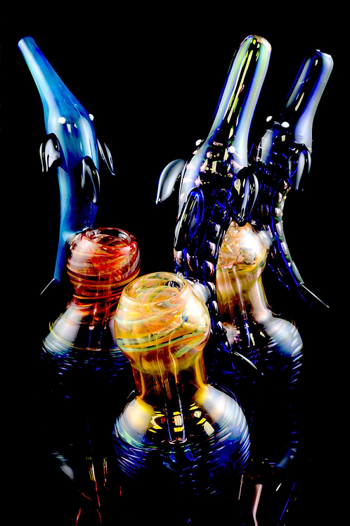 Large Gold Fumed Dolphin Sherlock Glass Bubbler