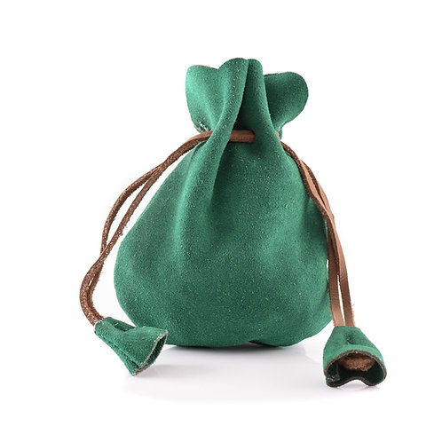 Suede Leather Pouch, Small Coin Pouch, Green