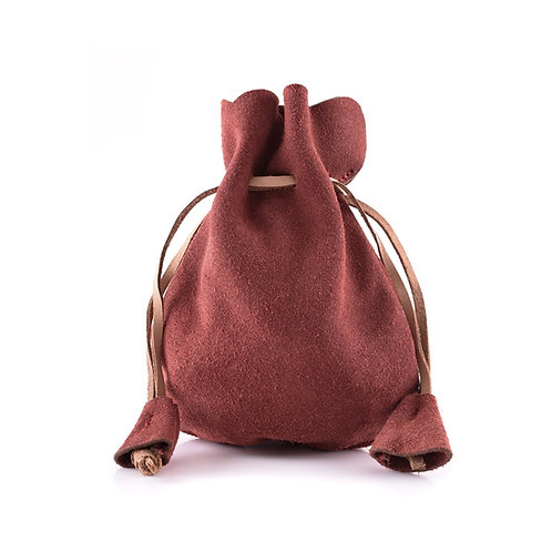 Suede Leather Pouch, Small Coin Pouch, Red