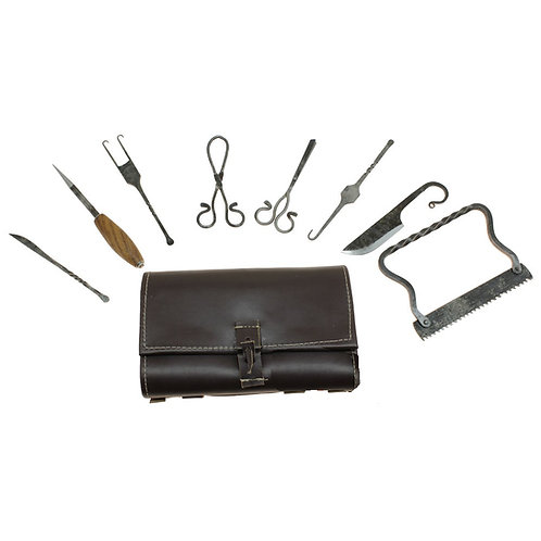 Hand-Forged Medieval Surgical Kit with leather bag