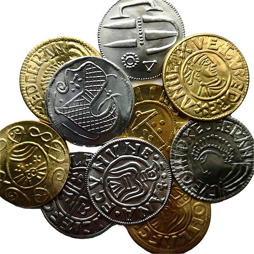 10 Assorted Viking coins, brass and steel