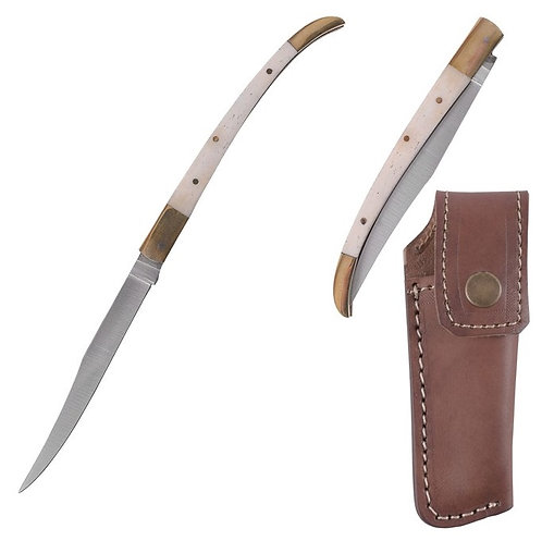 Folding Knife with Bone Handle Scales