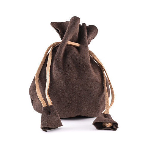 Suede Leather Pouch, Small Coin Pouch, Brown