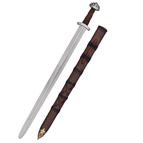 10c Viking Sword w. scabbard, five-lobed pommel, practical blunt