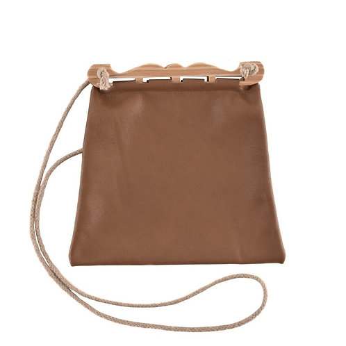 Leather Hedeby Bag with Wooden Handles