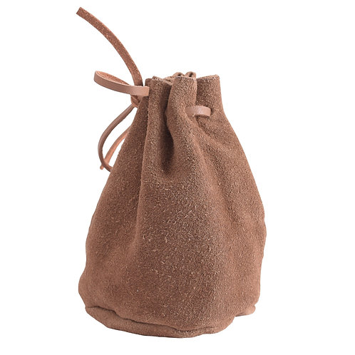Leather Drawstring Pouch Brown