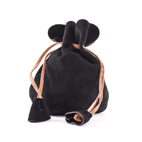 Suede Leather Pouch, Small Coin Pouch, Black
