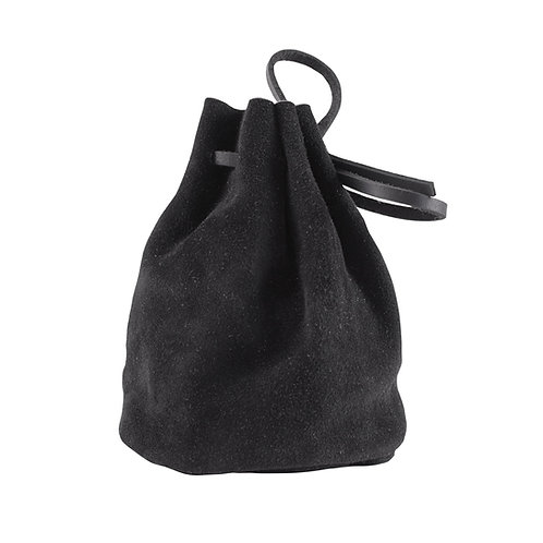 Leather Drawstring Pouch Black