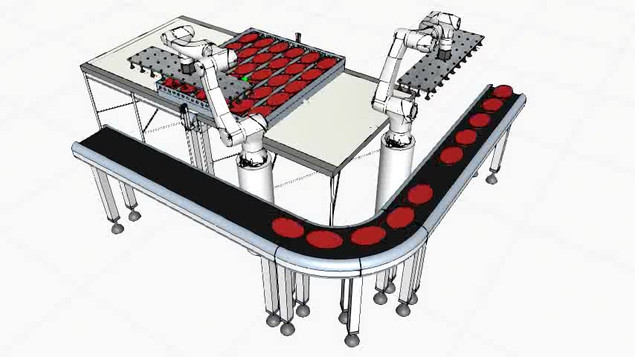F&B company requires fast and effective way to load food items from trays to conveyor belt.