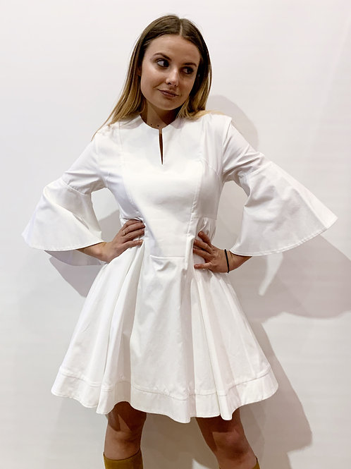 Carven - Robe blanche manches longues