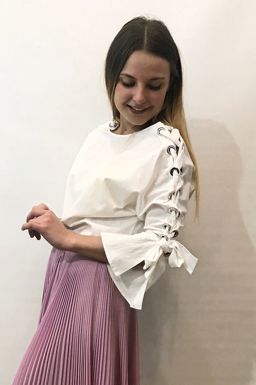 Maje - Blouse à lacets blanche