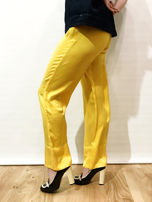 Trosman - Pantalon soie jaune