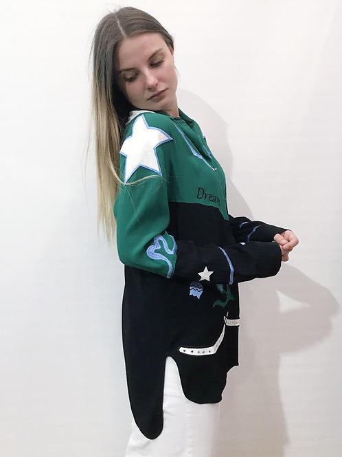 Maje - chemise noire et verte