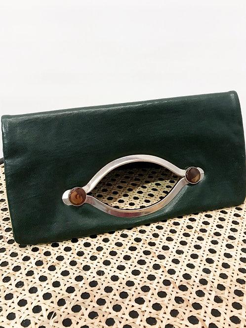 Vintage - Pochette cuir verte
