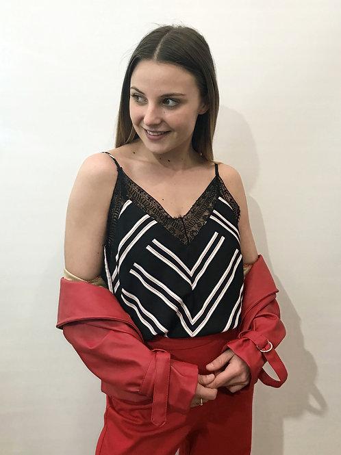 Maje - Top noir rayé rouge et blanc