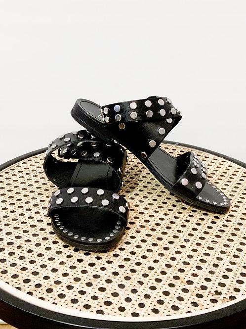 IKKS - Nu-pieds noirs cloutés