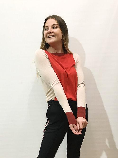 Boss - Pull beige et rouge