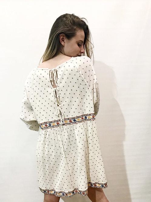 Sézane - Robe beige imprimée à manches longues