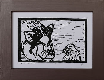 Boots and Friend Linocut Print 1/3