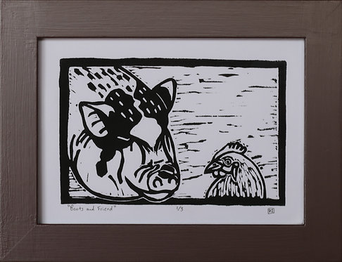 Boots and Friend Linocut