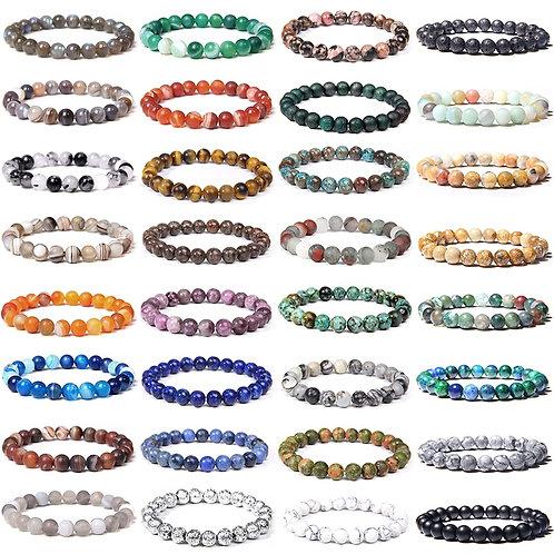 Chakra Bracelets Natural Healing Energy Tiger Eye Polished 8 Mm Lapis Lazuli