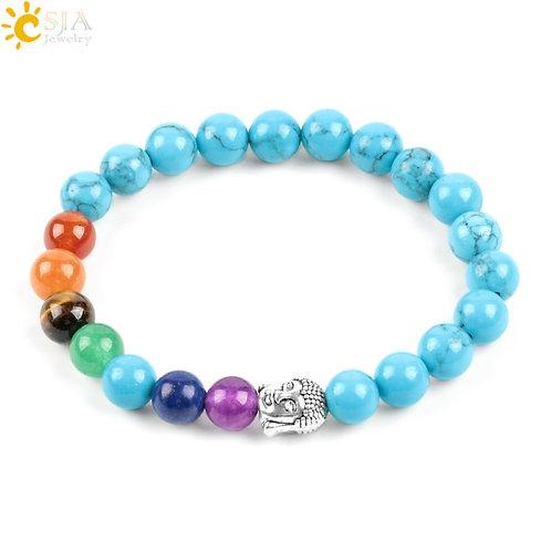 Chakra Buddhist Bracelet Meditation 8mm Blue Howlite Round Rainbow Stone Beads