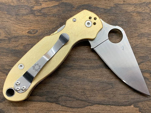 Stonewashed BRASS Scales for Spyderco Paramilitary 3 Knife Para 3 PM3