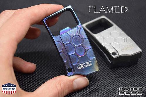 TITANIUM Bottle Opener FLAMED Keychain