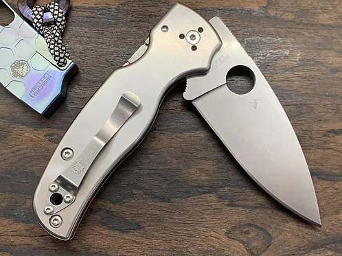 Brushed Custom Titanium Scales for Spyderco SHAMAN Knife